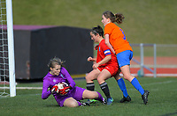 Action from the W-League women's football match between Wellington United Diamonds and Seatoun AFC in Wellington, New Zealand on Saturday, 29 August 2020. Photo: Dave Lintott / lintottphoto.co.nz