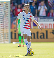 CARSON, CA - FEBRUARY 1: Walker Zimmerman #5 of the United States turns and moves with the ball during a game between Costa Rica and USMNT at Dignity Health Sports Park on February 1, 2020 in Carson, California.