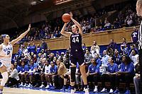 DURHAM, NC - NOVEMBER 17: Abi Scheid #44 of Northwestern University shoots a jumper during a game between Northwestern University and Duke University at Cameron Indoor Stadium on November 17, 2019 in Durham, North Carolina.