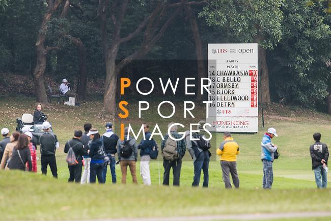 The Leader Board during the day three of UBS Hong Kong Open 2017 at the Hong Kong Golf Club on 25 November 2017, in Hong Kong, Hong Kong. Photo by Marcio Rodrigo Machado / Power Sport Images