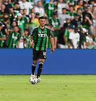 AUSTIN, TX - JUNE 19: Julio Cascante #18 of Austin FC looks to pass the ball during a game between San Jose Earthquakes and Austin FC at Q2 Stadium on June 19, 2021 in Austin, Texas.