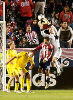CARSON, CA – APRIL 9, 2011: Columbus Crew goalie William Hesmer (1) makes a save during the match between Chivas USA and Columbus Crew at the Home Depot Center, April 9, 2011 in Carson, California. Final score Chivas USA 0, Columbus Crew 0.