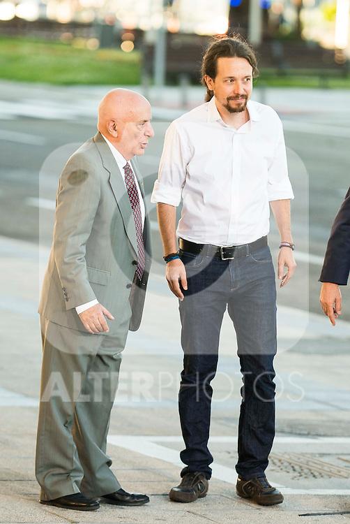 The president of Podemos, Pablo Iglesias attends to the debate between the 4 principals candidates at Palacio de Congresos in Madrid. June 13, 2016. (ALTERPHOTOS/BorjaB.Hojas)