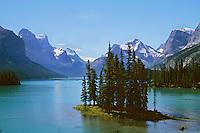 Spirit Island, Maligne Lake, Jasper Nat. Park, Alberta.  Summer.