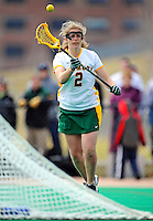 5 April 2008: University of Vermont Catamounts' Attackman Emilie Clark, a Senior from Calais, VT, in action against the University at Albany Great Danes at Moulton Winder Field, in Burlington, Vermont. With only seconds left in regulation time, the Catamounts rallied to defeat the visiting Danes 11-10 in America East conference play...Mandatory Photo Credit: Ed Wolfstein Photo