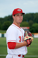 Greeneville Reds pitcher Jacob Heatherly (31) poses for a photo before a game against the Pulaski Yankees on July 27, 2018 at Pioneer Park in Tusculum, Tennessee.  Greeneville defeated Pulaski 3-2.  (Mike Janes/Four Seam Images)