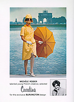Burlington ad featuring French designer Michele Rosier (1930-2017) with front projection of Paris, 1965. Photo by John G. Zimmerman.