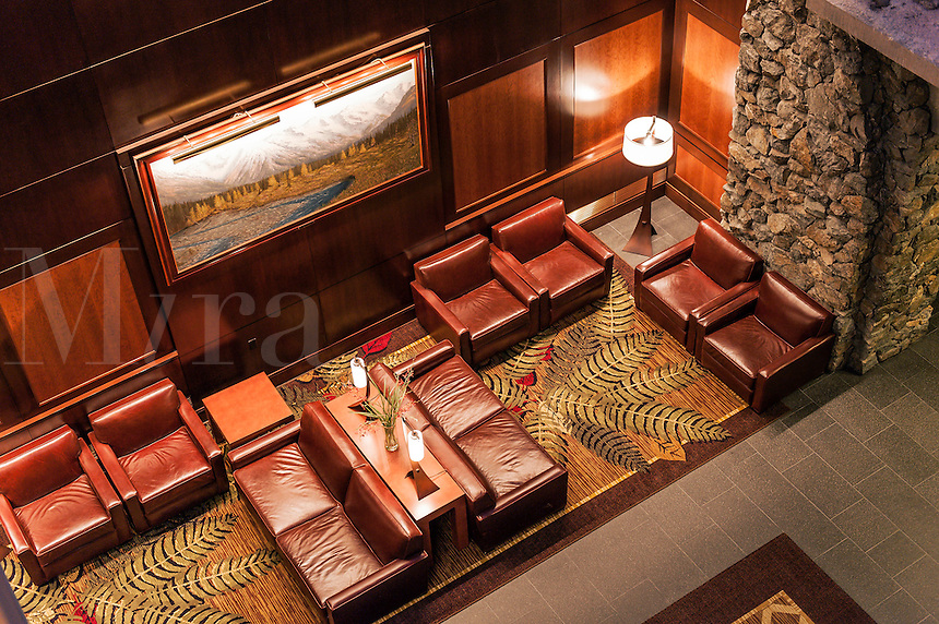 Upscale hotel lobby.