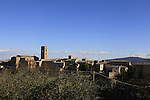 Colle de Valle d'Elsa, one of the many hilltop villages the Strade Bianche Eroica Pro 2015 cycle race passes through, 200km over the white gravel roads from San Gimignano to Siena, Tuscany, Italy. 6th March 2015<br /> Photo: Eoin Clarke www.newsfile.ie
