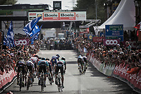 Michael Woods (CAN/EducationFirst-Drapac) & Romain Bardet (FRA/AG2R la Mondiale) sprinting for 2nd place.<br /> <br /> 104th Liège - Bastogne - Liège 2018 (1.UWT)<br /> 1 Day Race: Liège - Ans (258km)