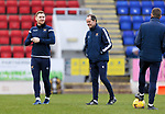 St Johnstone v Hamilton Accies…30.12.20   McDiarmid Park     SPFL<br />Liam Craig pictured during the pre match warm up with caoches Alec Clelandand Steven MacLean<br />Picture by Graeme Hart.<br />Copyright Perthshire Picture Agency<br />Tel: 01738 623350  Mobile: 07990 594431