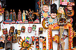 Close-up of traditional Guatemalan masks and handicrafts at market in San Pedro La Laguna, Lake Atitlan, Guatemala