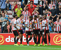 Jermain Defoe of Sunderland (2nd from right) celebrates scoring their first goal with team mates during the Barclays Premier League match between Sunderland and Swansea City played at Stadium of Light, Sunderland