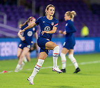ORLANDO, FL - JANUARY 22: Emily Fox #27 of the USWNT warms up before a game between Colombia and USWNT at Exploria stadium on January 22, 2021 in Orlando, Florida.