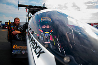 Sep 1, 2019; Clermont, IN, USA; NHRA top fuel driver Austin Prock during qualifying for the US Nationals at Lucas Oil Raceway. Mandatory Credit: Mark J. Rebilas-USA TODAY Sports