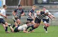 Wednesday 6th March 2019   Ulster Schools Cup - Semi Final 2<br /> <br /> Ben Carson is tap tackled by Max Lyttle during the Ulster Schools Cup semi-final between MCB and Wallace High School at Kingspan Stadium, Ravenhill Park, Belfast, Northern Ireland. Photo by John Dickson / DICKSONDIGITAL