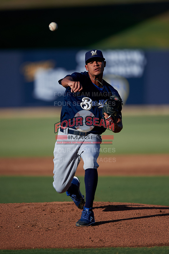 AZL Brewers Blue starting pitcher Henry Medina (18) during an Arizona League game against the AZL Brewers Gold on July 13, 2019 at American Family Fields of Phoenix in Phoenix, Arizona. The AZL Brewers Blue defeated the AZL Brewers Gold 6-0. (Zachary Lucy/Four Seam Images)