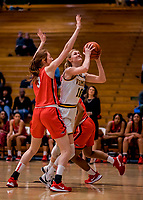 19 February 2020: University of Vermont Catamount Forward Hanna Crymble, a Senior from Champlin, MN, in first-half action against the Stony Brook Seawolves at Patrick Gymnasium in Burlington, Vermont. The Lady Seawolves edged out the Lady Catamounts 72-68 in America East Women's Basketball. Mandatory Credit: Ed Wolfstein Photo *** RAW (NEF) Image File Available ***