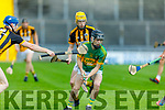 Lixnaws Michael Kellihers pinned in by Steven egan and Mickey Clifford of Abbeydorney in the Senior Hurling Championship quarter final.