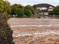 Flooding caused by heavy rain in Abergavenny, south Wales, UK. Saturday 26 October 2019