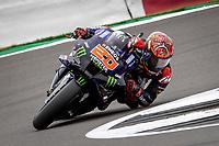 29th August 2021; Silverstone Circuit, Silverstone, Northamptonshire, England; MotoGP British Grand Prix, Race Day; Monster Energy Yamaha MotoGP rider Fabio Quartararo on his Yamaha YZR-M1 wins the British Grand Prix