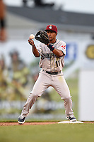 Mahoning Valley Scrappers second baseman Ordomar Valdez (11) takes a throw for a force out during a game against the Batavia Muckdogs on June 20, 2014 at Dwyer Stadium in Batavia, New York.  Batavia defeated Mahoning Valley 7-4.  (Mike Janes/Four Seam Images)