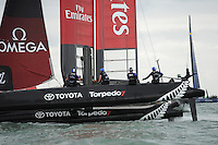 Glenn Ashby (NZ) helms Emirates Team New Zealand during day two of the Louis Vuitton America's Cup World Series racing, Portsmouth, United Kingdom. (Photo by Rob Munro/Stewart Communications)
