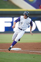 Adam Engel (7) of the Winston-Salem Dash rounds third base against the Lynchburg Hillcats at BB&T Ballpark on May 29, 2015 in Winston-Salem, North Carolina.  The Dash defeated the Hillcats 8-1.  (Brian Westerholt/Four Seam Images)