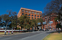 Dallas Texas famous Kennedy assassination in Novemebr 1963 spot at Book Depository from street where X marks spot of President Kennedy limo when shot from Book Depository