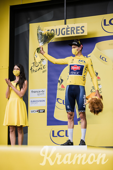 yellow jersey // GC leader Mathieu van der Poel (NED/Alpecin Fenix)<br /> <br /> <br /> Stage 4 from Redon to Fougiéres (150.4km)<br /> 108th Tour de France 2021 (2.UWT)<br /> <br /> ©kramon