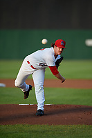 Auburn Doubledays starting pitcher Kyle Johnston (27) delivers a pitch during a game against the Connecticut Tigers on August 9, 2017 at Falcon Park in Auburn, New York.  Connecticut defeated Auburn 6-4.  (Mike Janes/Four Seam Images)