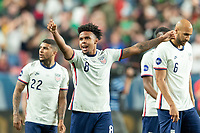 DENVER, CO - JUNE 6: Weston McKennie #8 of the United States celebrates the goal with his teammates during a game between Mexico and USMNT at Mile High on June 6, 2021 in Denver, Colorado.