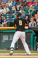 Angel Rosa (8) of the Salt Lake Bees at bat against the Tacoma Rainiers in Pacific Coast League action at Smith's Ballpark on August 31, 2015 in Salt Lake City, Utah. Salt Lake defeated Tacoma 6-5.  (Stephen Smith/Four Seam Images)