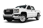 Stock pictures of low aggressive front three quarter view of 2018 GMC Sierra 1500 2WD Crew Cab Short Box 4 Door Pick-up Low Aggressive
