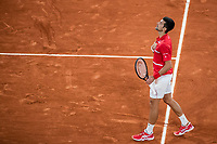 9th October 2020, Roland Garros, Paris, France; French Open tennis, Mens singles semi-final, Roland Garros 2020; Novak Djokovic of Serbia celebrates after the mens singles semifinal match against StefanTsitsipas of Greece