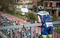 Tom Devriendt (BEL/Intermarché - Wanty - Gobert) cheering his colleagues on from above during his training ride<br /> <br /> 76th Dwars door Vlaanderen 2021 (MEN1.UWT)<br /> 1 day race from Roeselare to Waregem (184km)<br /> <br /> ©kramon