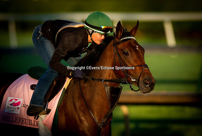 April 26, 2021: Millefeuille gallops in preparation for the Kentucky Oaks at Churchill Downs in Louisville, Kentucky on April 26, 2021. EversEclipse Sportswire/CSM