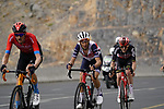 Wout Poels (NED) Bahrain Victorious and Vincenzo Nibali (ITA) Trek-Segafredo climb the final 4km of Jais Mountain during Stage 5 of the 2021 UAE Tour running 170km from Fujairah to Jebel Jais, Ras Al Khaimah, UAE. 25th February 2021.  <br /> Picture: Eoin Clarke   Cyclefile<br /> <br /> All photos usage must carry mandatory copyright credit (© Cyclefile   Eoin Clarke)