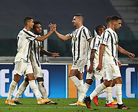 Calcio, Serie A: Juventus - Sampdoria, Turin, Allianz Stadium, September 20, 2020.<br /> Juventus' Cristiano Ronaldo (l) celebrates after scoring with his teammates during the Italian Serie A football match between Juventus and Sampdoria at the Allianz stadium in Turin, September 20,, 2020.<br /> UPDATE IMAGES PRESS/Isabella Bonotto