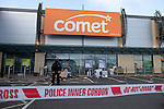 © Joel Goodman - 07973 332324 . 07/08/2011 . London , UK . Destruction and looting inside Comet at Tottenham Hale Retail Park . Riots spread from Tottenham High Road when looters raided televisions , cameras and other expensive products . Overnight rioting and looting in Tottenham , following a protest against the police shooting of Mark Duggan . Photo credit : Joel Goodman