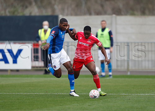 8th November 2020; SkyEx Community Stadium, London, England; Football Association Cup, Hayes and Yeading United versus Carlisle United; Aaron Hayden of Carlisle United challenges Francis Amartey of Hayes & Yeading United