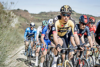 defending champion Wout van Aert (BEL/Jumbo-Visma) riding the gravel sector<br /> <br /> 15th Strade Bianche 2021<br /> ME (1.UWT)<br /> 1 day race from Siena to Siena (ITA/184km)<br /> <br /> ©kramon