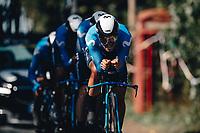 7th September 2021: Llandeilo, Wales:The AJ Bell Tour Of Britain 2021. Stage 3 Llandeilo to National Botanic Garden of Wales. Team Time Trial. Team Movistar. SOLER Marc, CATALDO Dario, HOLLMANN Juri, CULLAIGH Gabriel, JORGENSON Matteo, SERRANO Gonzalo.