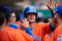Syracuse Mets Travis Taijeron (19) high fives teammates after hitting a home run during an International League game against the Indianapolis Indians on July 17, 2019 at Victory Field in Indianapolis, Indiana.  Syracuse defeated Indianapolis 15-5  (Mike Janes/Four Seam Images)