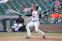 Salt River Rafters shortstop Steve Wilkerson (10), of the Baltimore Orioles organization, follows through on his swing during an Arizona Fall League game against the Mesa Solar Sox on October 30, 2017 at Salt River Fields at Talking Stick in Scottsdale, Arizona. The Solar Sox defeated the Rafters 8-4. (Zachary Lucy/Four Seam Images)