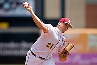 Starting pitcher Geoff Parker #21 of the Florida State Seminoles in action against the North Carolina State Wolfpack during the Championship Game of the 2010 ACC Baseball Tournament at NewBridge Bank Park May 30, 2010, in Greensboro, North Carolina.  The Seminoles defeated the Wolfpack 8-3.  Photo by Brian Westerholt / Four Seam Images