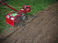 Red Troy-bilt tiller  sits on grass next to recently tilled garden.