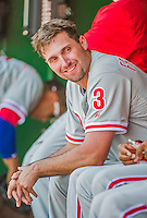 24 May 2015: Philadelphia Phillies outfielder Jeff Francoeur smiles in the dugout prior to a game against the Washington Nationals at Nationals Park in Washington, DC. The Nationals defeated the Phillies 4-1 to take the rubber game of their 3-game weekend series. Mandatory Credit: Ed Wolfstein Photo *** RAW (NEF) Image File Available ***