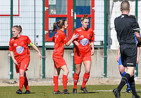 Selina Gijsbrechts (11) of Woluwe and Sheila Broos (20) of Woluwe celebrates after scoring a goal during a female soccer game between FC Femina White Star Woluwe and KRC Genk on the 17 th matchday of the 2020 - 2021 season of Belgian Scooore Womens Super League , Saturday 20 th of March 2021  in Woluwe , Belgium . PHOTO SPORTPIX.BE | SPP | JILL DELSAUX