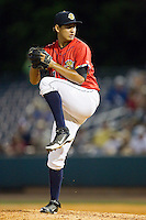 Charleston RiverDogs relief pitcher Giovanny Gallegos (11) in action against the Greenville Drive at Joseph P. Riley, Jr. Park on May 26, 2014 in Charleston, South Carolina.  The Drive defeated the RiverDogs 11-3.  (Brian Westerholt/Four Seam Images)